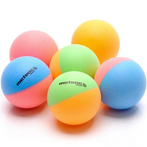 Set of 6 ping pong balls Meteor Rainbow 15027