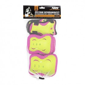 A set of Nils Extreme H320 protectors, pink and lime size XL